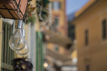 image of two transparent light bulbs used as decoration in an alley