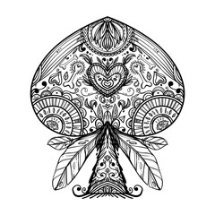 The beautiful graphic peak sign. Peak suit. Day of the Dead style. Can be used for coloring, as tattoo idea or printing.