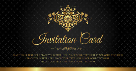 Invitation card luxury black and gold vintage style
