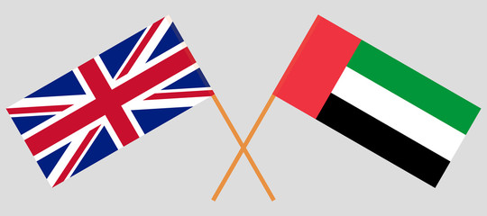 British and United Arab Emirates. The UK and UAE flags. Official colors. Correct proportion. Vector