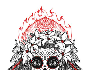 The beautiful portrait of a woman with big eyes and wearing a wreath. The girl in a costume to Day of the Dead. Can be used for tattoo ideas, covers, printing, coloring.