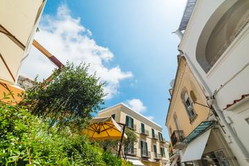 Sun shining over world famous Capri island