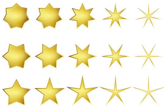 Vector: Golden Stars With Five, Six, Seven Points