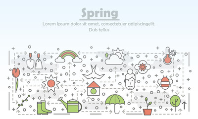 Vector thin line art spring poster banner template