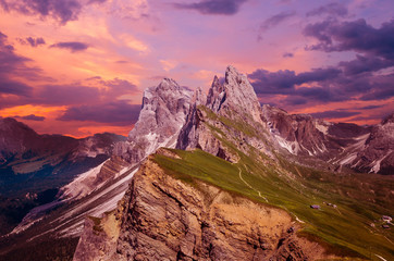 Gruppo delle Odle at sunset, view from Seceda. Puez Odle massif in Dolomites mountains, Italy, South Tyrol Alps, Alto Adige, Val Gardena, Geislergruppe