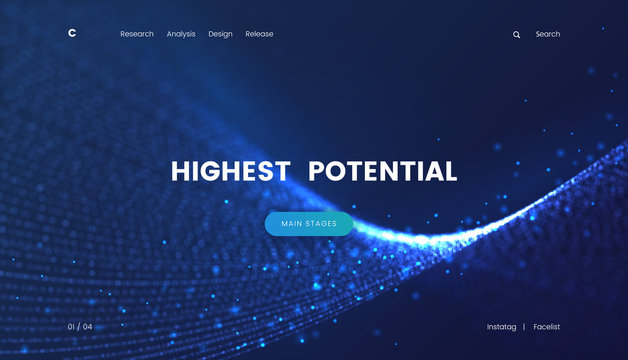 Landing page template with a fantastic blue particles scifi background, can be used for electronics startup, internet technology and futuristic cyberspace theme web sites. Header for website