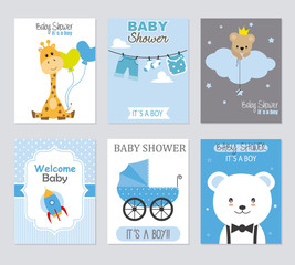 Baby shower invitations. Set of 6 baby boy cards