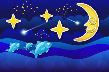Beautiful moon hanging in the night sky