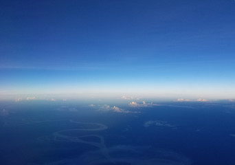 Airplane view above the Amazonian forest.