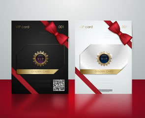 Vector black and white plastic vip card presentation golden frame. Membership or discount card. Luxury club ticket silver coupon. Vip jewel card on glossy background. Gift card voucher red bow ribbon.
