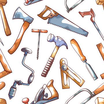 Hand tools, repairman seamless pattern on white
