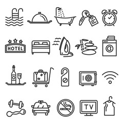 Hotel and service line icon set on white