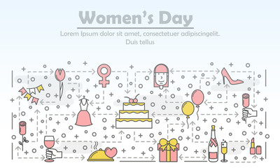Vector thin line women day poster banner template