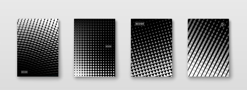 Abstract background with black, white, grey elements, halftone texture. Monochrome pattern poster design. Trend minimal cover. Vector illustration.
