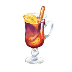 Hand drawn watercolor mulled wine illustration isolated on white background.
