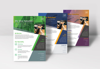 Business Flyer Layout with Diagonal Elements