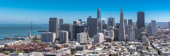 San Francisco, panorama of Financial District downtown and the Oakland Bay Bridge in background