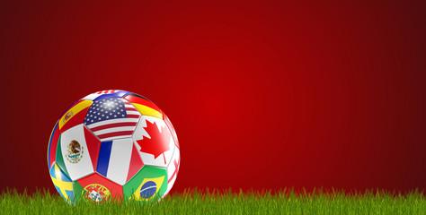 soccer ball flags design USA Canada Mexico France 3d-illustration