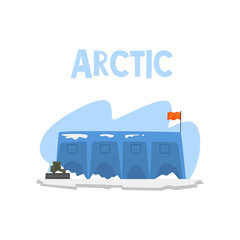 Polar station, expedition to the Arctic vector Illustration on a white background