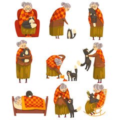Cute granny and her black cat set, lonely old lady and her animal pet vector Illustration on a white background