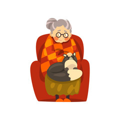 Cute granny sitting in armchair with her black cat, lonely old lady and her animal pet vector Illustration on a white background