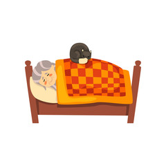 Cute granny sleeping in her bed, black cat lying with her, lonely old lady and her animal pet vector Illustration on a white background