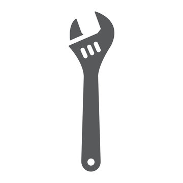 Adjustable wrench glyph icon, tool and repair, monkey wrench sign, vector graphics, a solid pattern