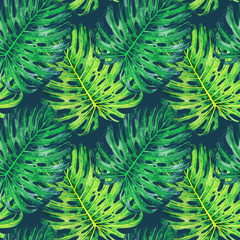 Hand drawn watercolor seamless pattern with tropical leaves