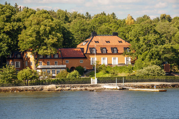 Stockholm, Sweden, Stockholm fjord. Fjords is one of the attractions of the Scandinavian countries, long sea bays with beautiful nature, Islands, nice houses on the banks.