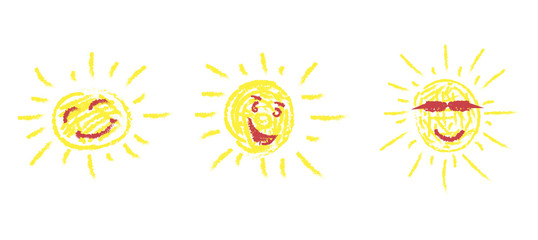 Set of three hand-drawn pictures of the bright sun with funny faces