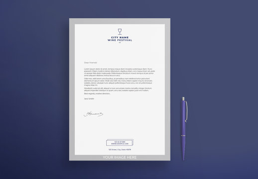 Letterhead Layout with Wine Glass Icon