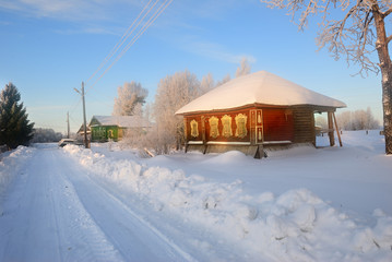 Russian countryside in winter time