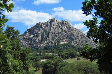 Rocky mountain and green valley near Tempio Pausania, Sardinia, Italy