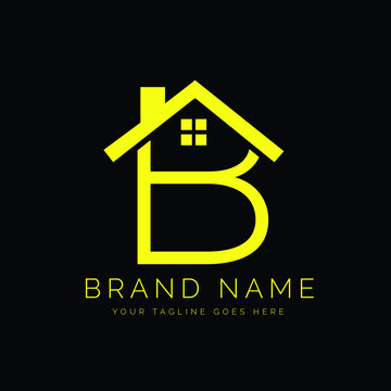 Modern Minimal Real Estate Letter B Logo Design With a House Icon