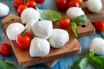 Italian cheese mozzarella with tomatoes and basil
