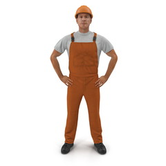 Worker In Orange Overalls With Hardhat Standing Pose. Isolated On White Background. 3D Illustration
