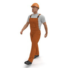 Worker In Orange Overalls With Hardhat Walking Pose. Isolated On White Background. 3D Illustration
