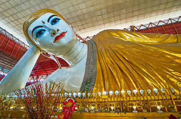 The great Buddha image in Chaukhtatgyi Temple, Yangon, Myanmar