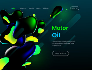 Landing page template with a green background color and abstract liquid shapes - Motor Oil, can be used for natural lubricants, gas industry, energy business, branding ecological bio fuel web sites
