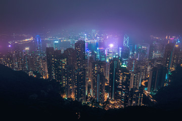 hong kong skyline from Victoria Peak at night
