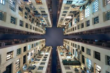 Hong Kong building look up Fotomurales