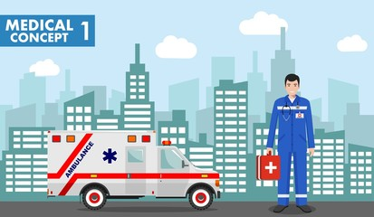 Medical concept. Detailed illustration of emergency doctor man in uniform on background with cityscape in flat style. Vector illustration.