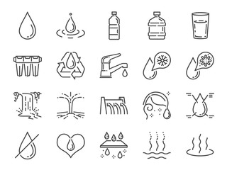 Obraz Water icon set. Included icons as water drop, moisture, liquid, bottle, litter and more.  - fototapety do salonu