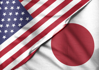 Two flags: the United States and the State of Japan.