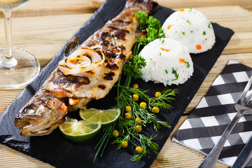 Grilled trout with rice
