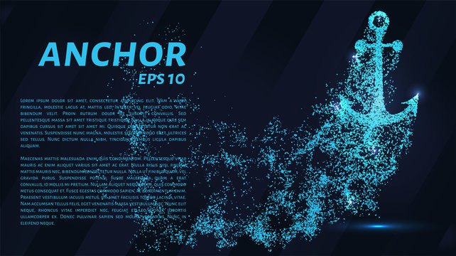The anchoring of the particles on a dark background. The anchor consists of geometric shapes. Vector illustration.