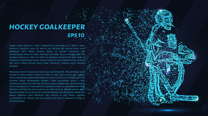 Hockey of the particles on a dark background. Hockey goalkeeper made out of geometric shapes. Vector illustration