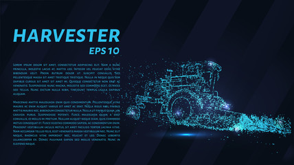 Combine agricultural machinery from particles on a dark background. Harvester consists of geometric shapes. Vector illustration