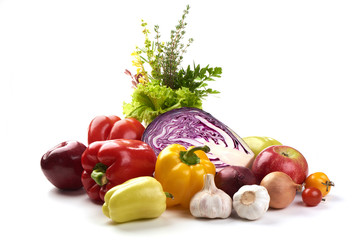 Composition with different types of vegetables, isolated on white background.