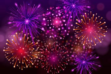 Festive Colorful fireworks on black background. Set of Vector realistic fireworks illustration.